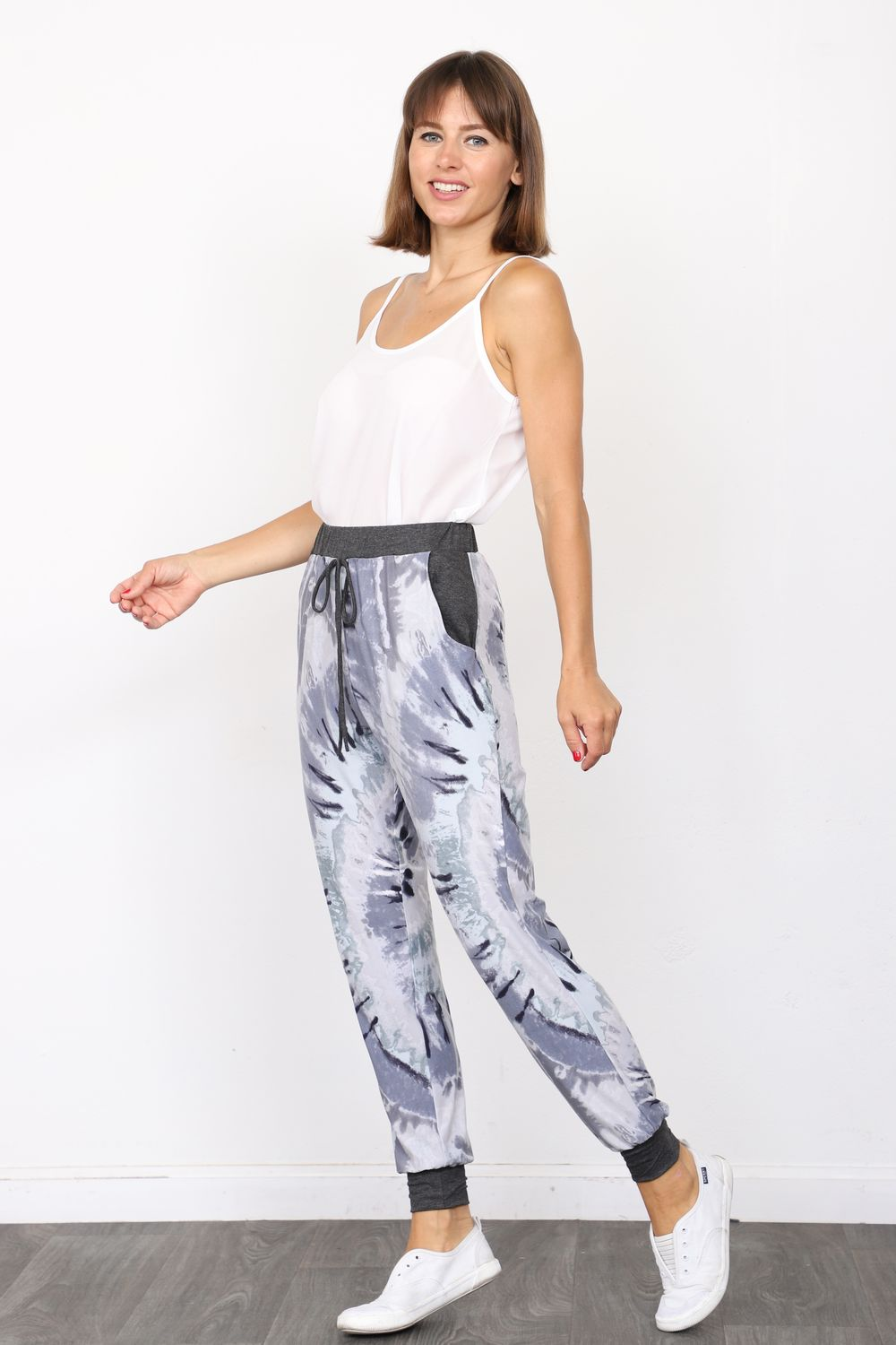 Charcoal Grey Swirl Tie Dye Jogger Pants_Plus
