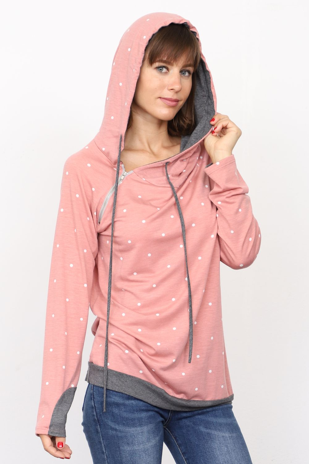 Pink Polka Dot Zipper Accent Hoodie_Plus
