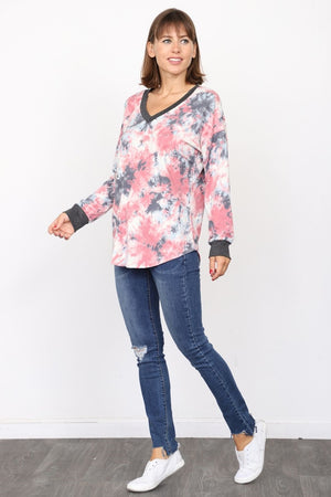 Charcoal Pink Tie Dye V-Neck Top_Plus