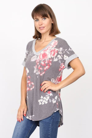 Charcoal & Coral Floral V-Neck Top_Plus
