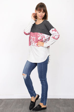 Charcoal Burgundy Floral & Stripe Color Block Tunic_Plus