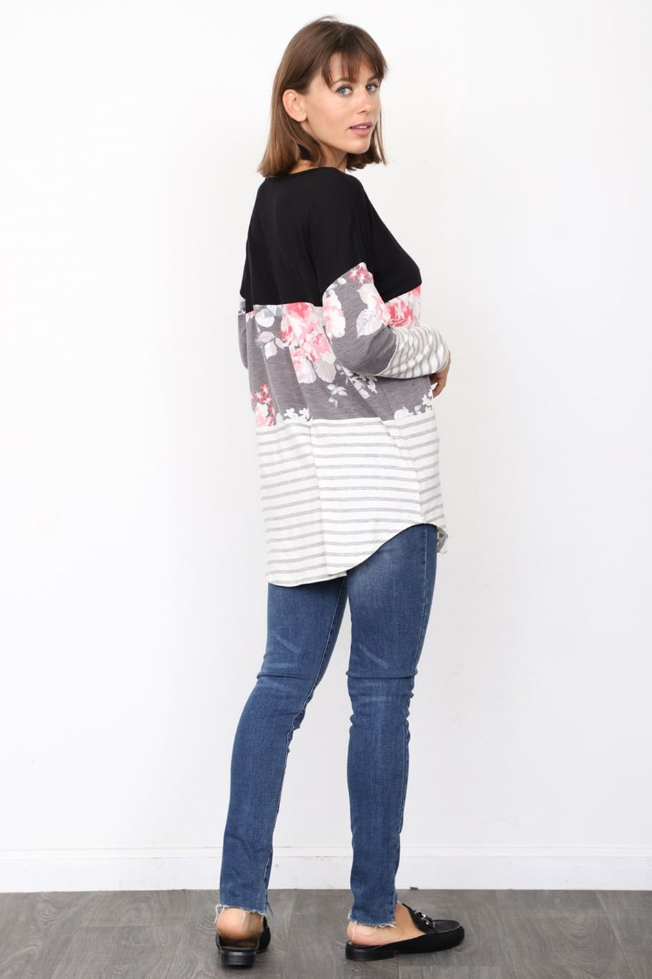 Black Charcoal Floral & Stripe Color Block Tunic