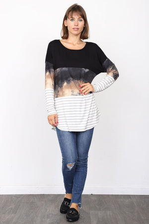 Black Tie-Dye & Stripe Color Block Tunic