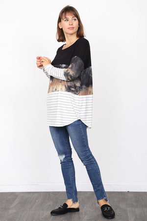 Black Tie-Dye & Stripe Color Block Tunic_Plus