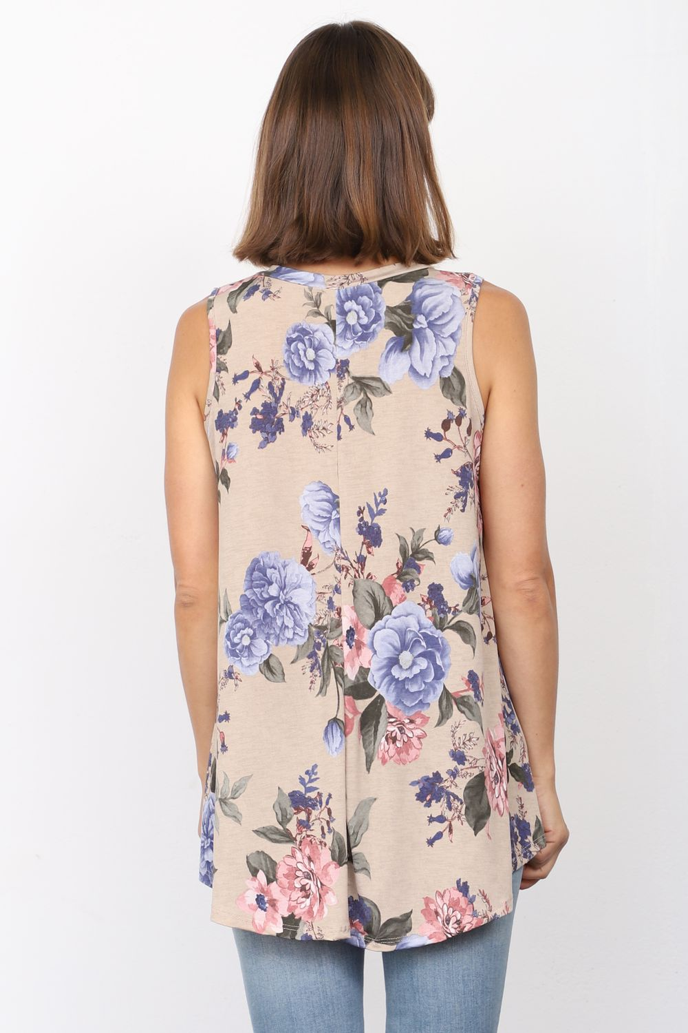 Taupe Pink & Blue Floral Sleeveless Tunic