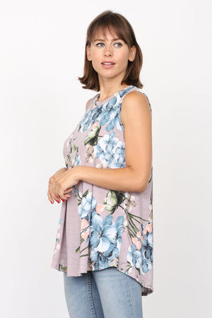 Lavender Blue Floral Sleeveless Tunic_Plus