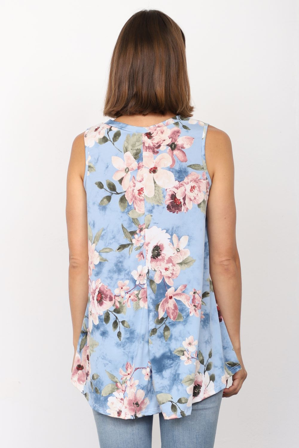 Baby Blue Almond Flower Sleeveless Tunic