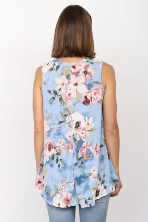 Baby Blue Almond Flower Sleeveless Tunic_Plus