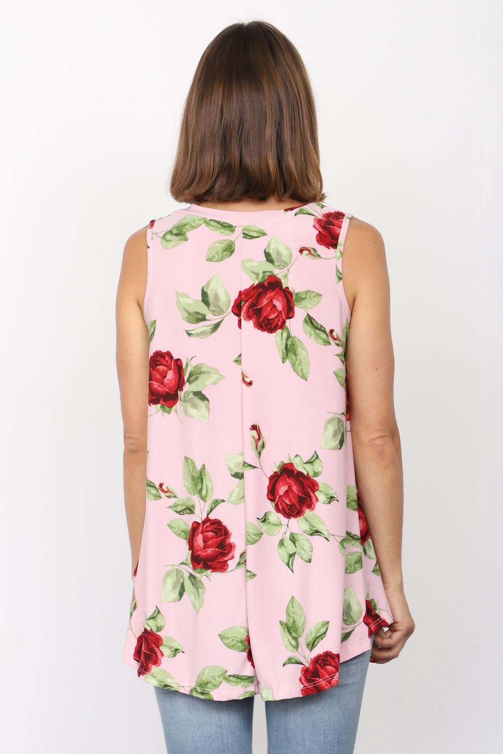 Pink Rose Sleeveless Tunic_Plus