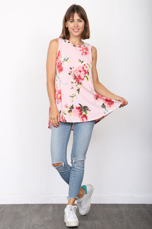 Pink Floral Sleeveless Tunic_Plus