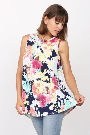 Navy Pink Floral Sleeveless Tunic_Plus
