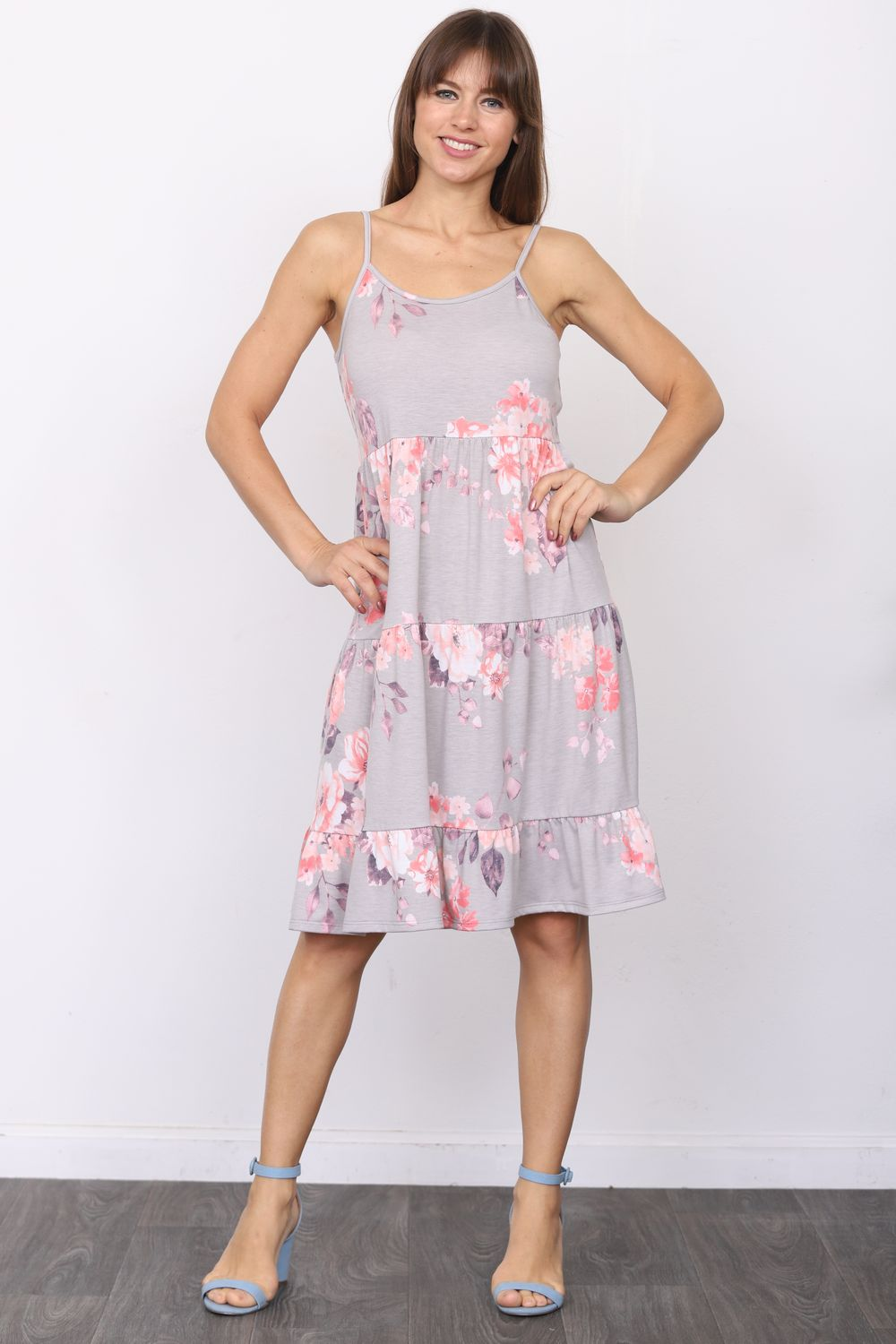 Grey Floral Spaghetti Strap Tiered Midi Dress