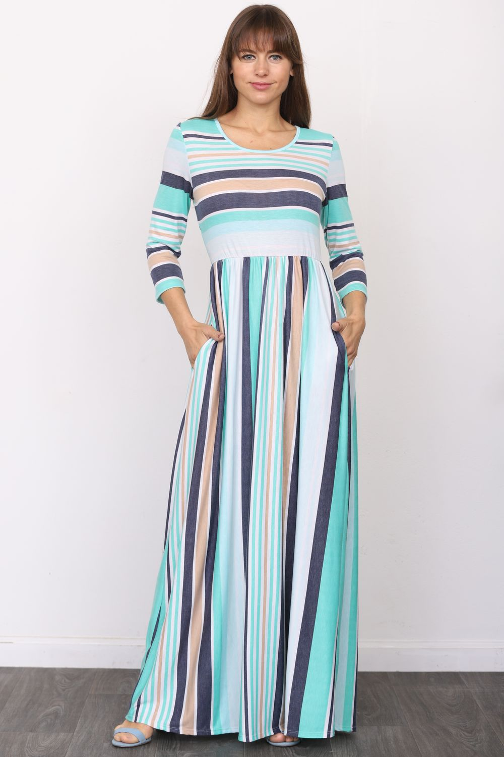 Aqua & Navy Stripe 3/4 Sleeve Maxi Dress