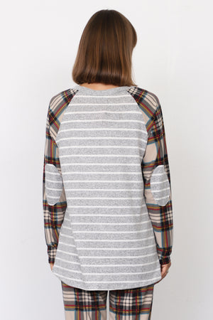Grey Stripe Cream Plaid Sleeve Raglan Tunic with Elbow Patch