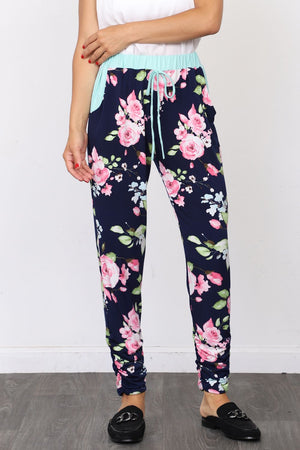 Cyan Band Navy Floral Jogger_Plus