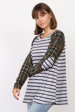 Grey Stripe Olive Plaid Sleeve Raglan Tunic with Elbow Patch_Plus