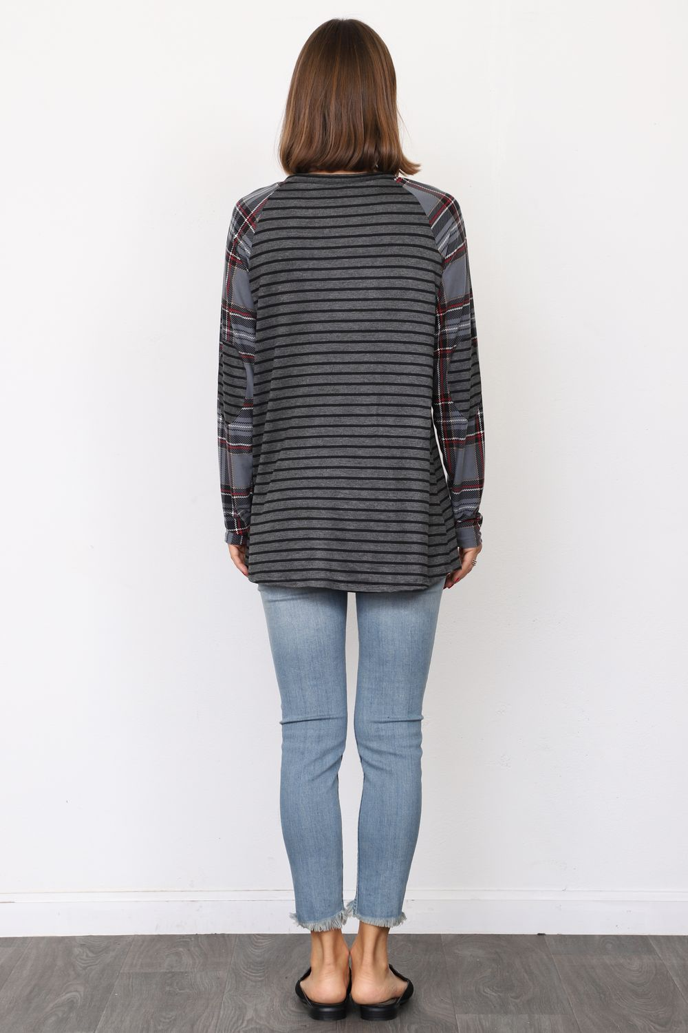 Charcoal Stripe Slate Blue Plaid Sleeve Raglan Tunic with Elbow Patch