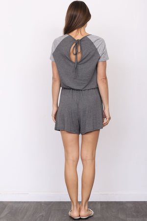 Charcoal & Grey Raglan Short Sleeve Romper with Double Front Pockets