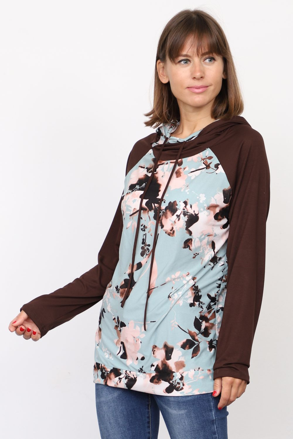 Brown Mint Floral Raglan Hoodie_Plus