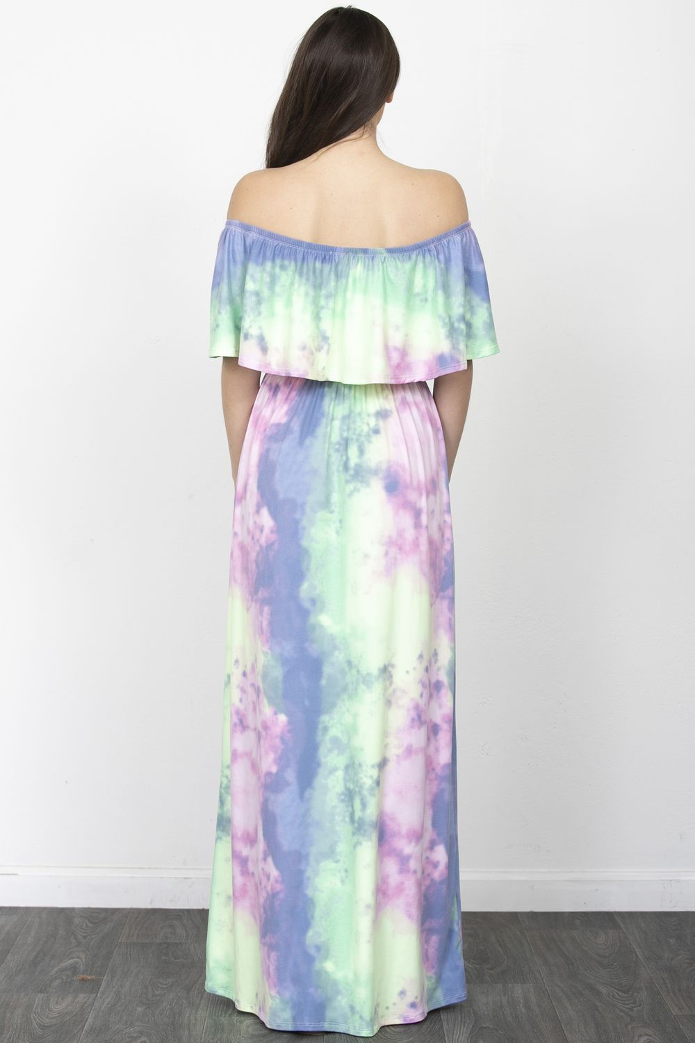 Tie Dye Off Shoulder Ruffle Maxi Dress_Plus