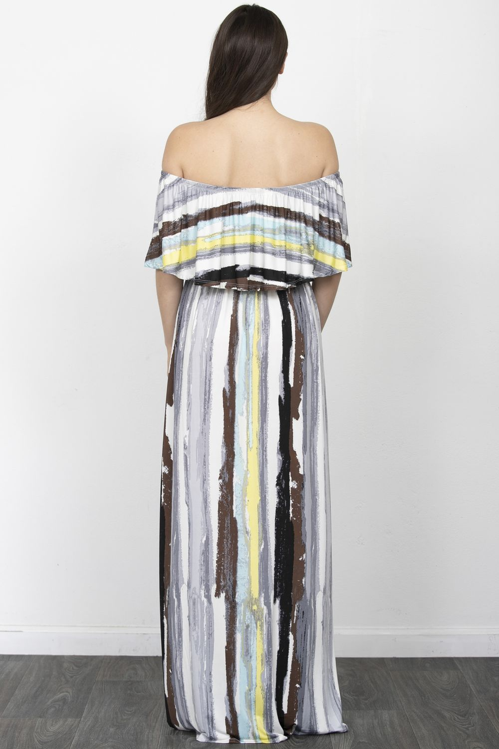 Water Color Stripe Off Shoulder Ruffle Maxi Dress