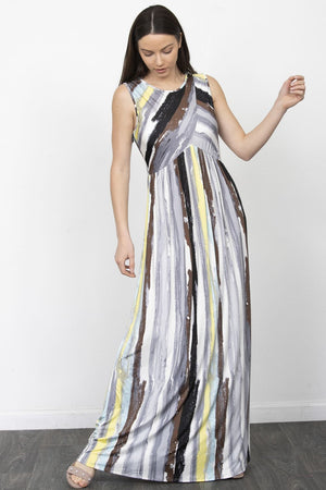 Water Color Stripe Cross Front Maxi Dress_Plus