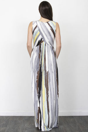 Water Color Stripe Cross Front Maxi Dress