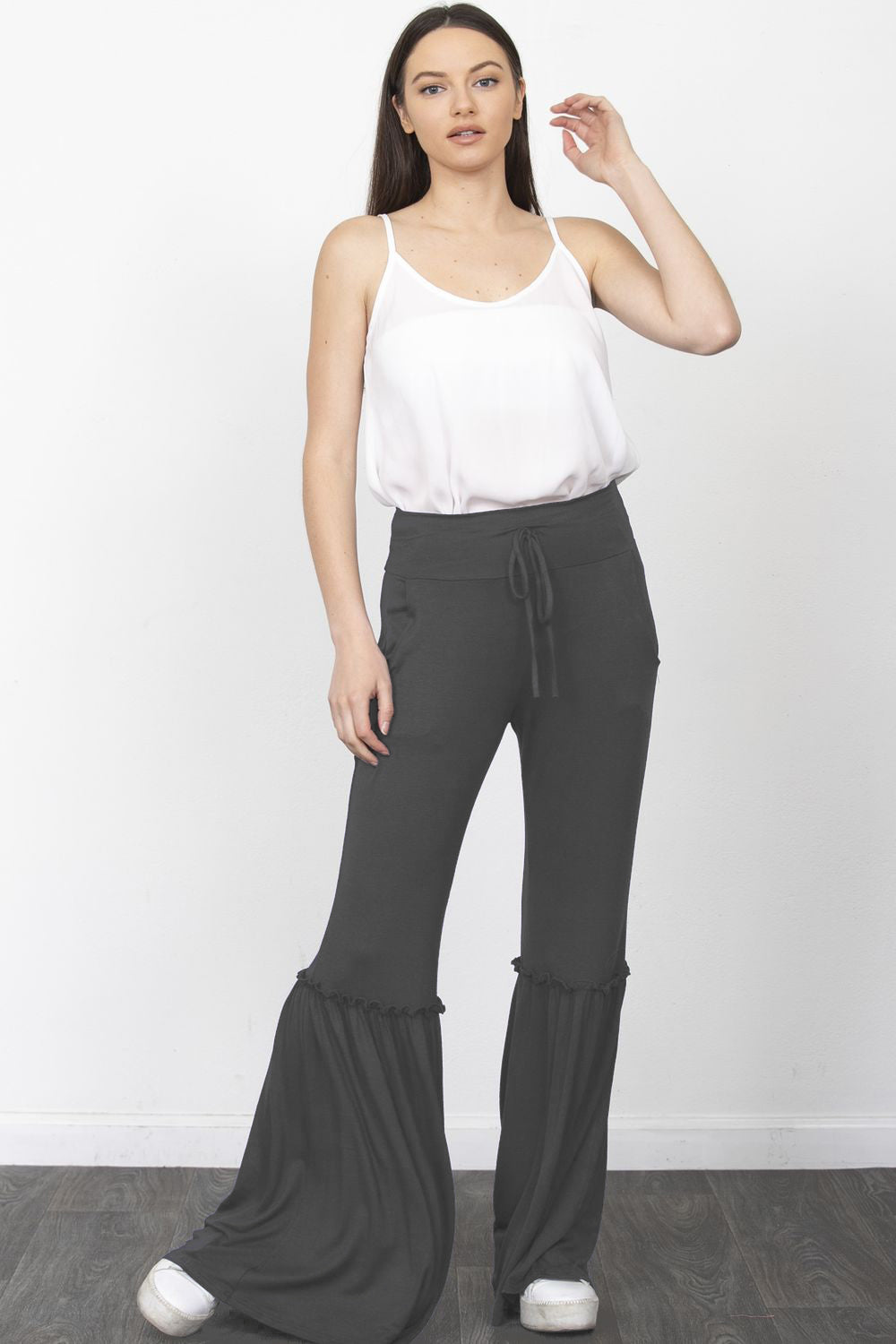 Charcoal Ruffle Wide-Leg Lounge Pants
