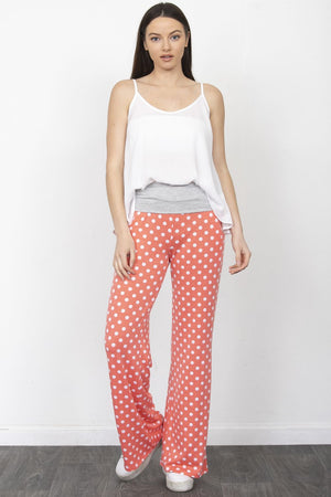 Coral Polka Dot Fold-Over Lounge Pants