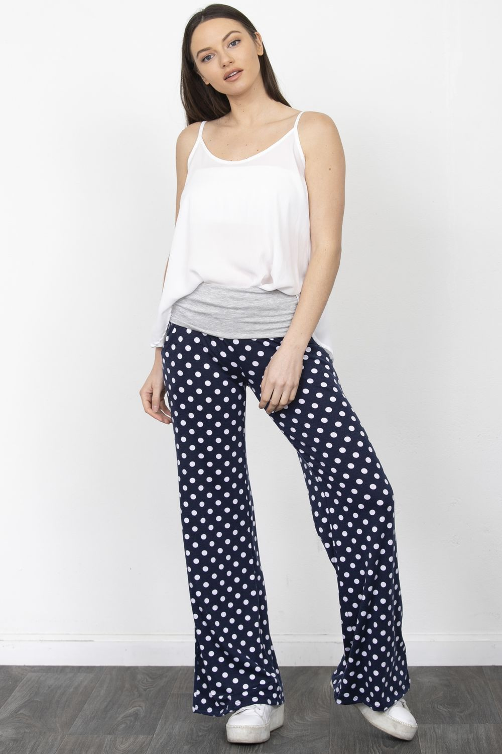 Navy Polka Dot Fold-Over Lounge Pants