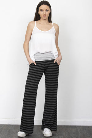 Charcoal & Black Stripe Fold-Over Lounge Pants