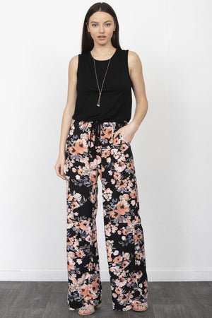 Black Sleeveless Floral Jumpsuit