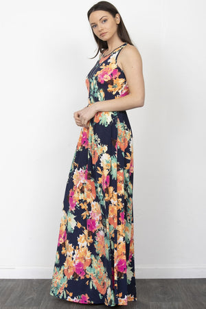 Navy & Coral Floral Sleeveless Maxi Dress