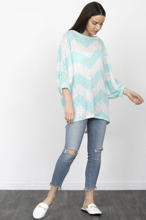Mint Chevron Dolman Sleeve Tunic