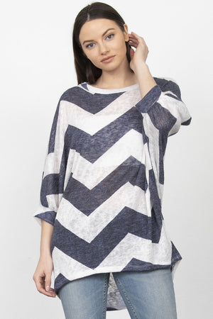 Navy Chevron Dolman Sleeve Tunic