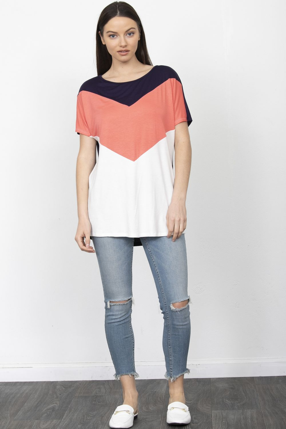 Short Sleeve Chevron Color Block Top