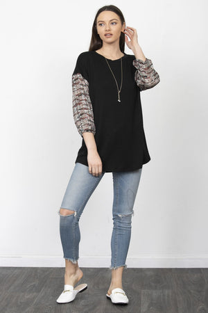 Black Leaf Vine Chiffon Sleeve Tunic_Plus