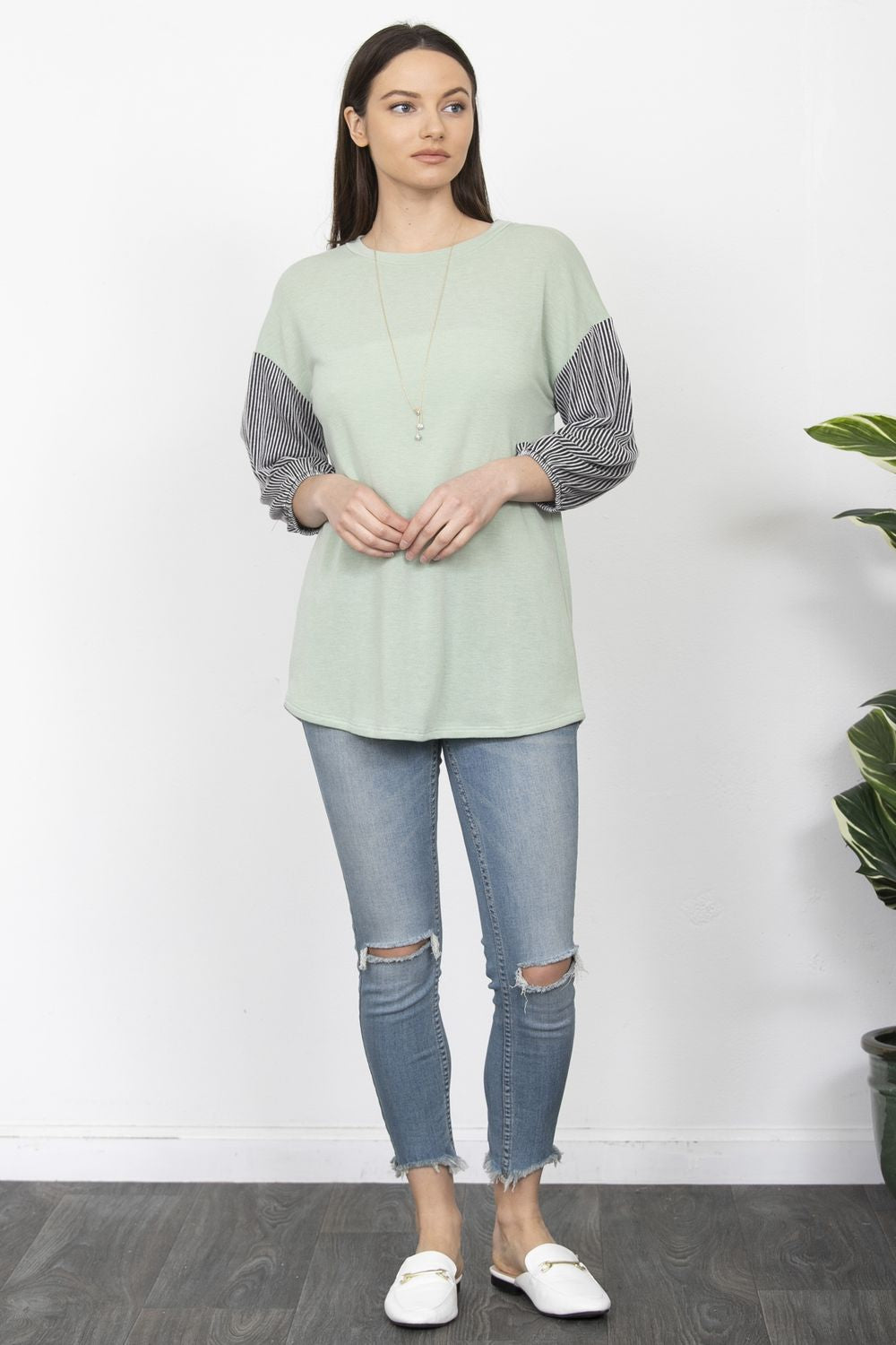 Sage & Charcoal Ribbed Sleeve Tunic_Plus