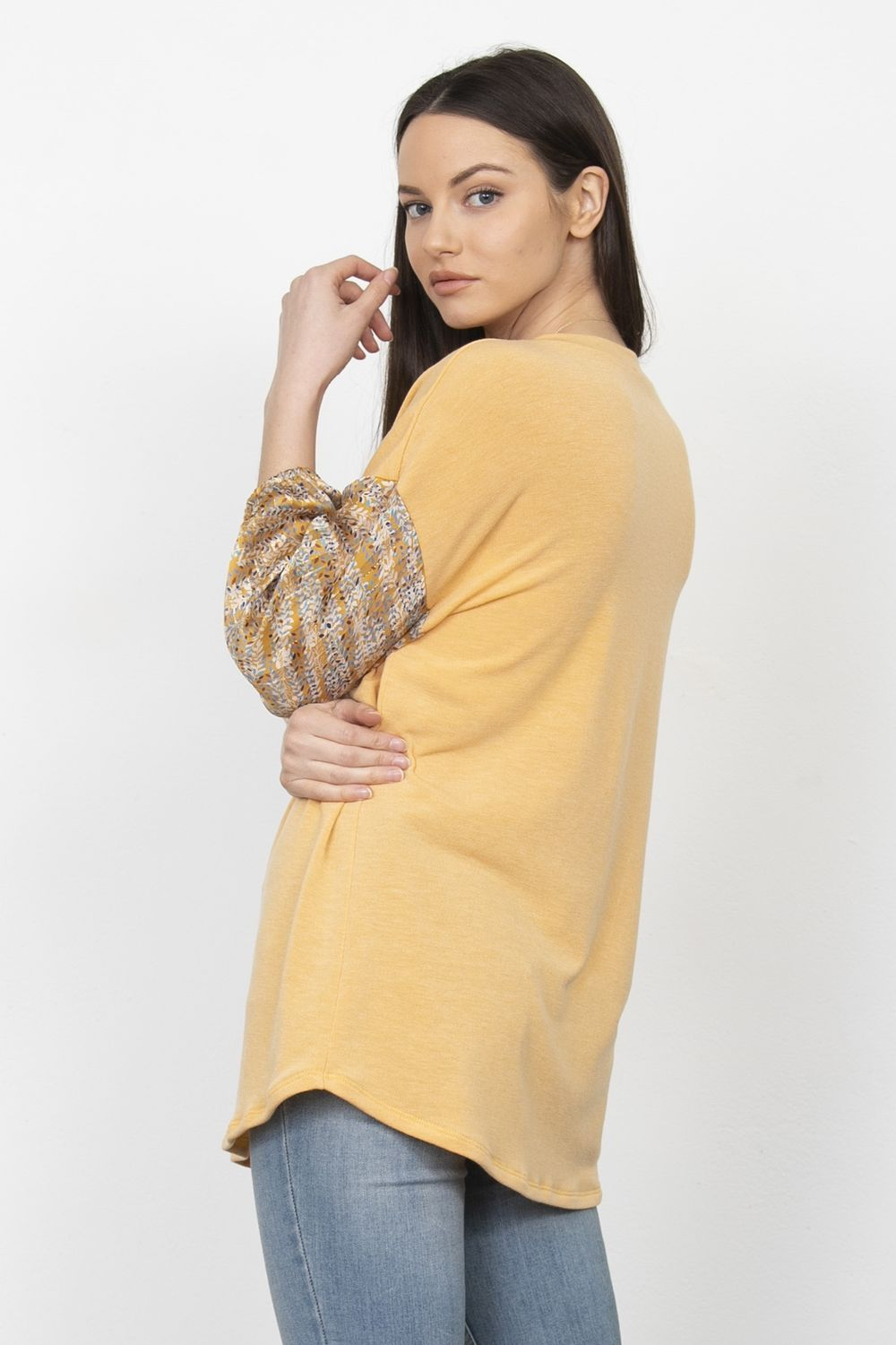 Mustard Leaf Vine Chiffon Sleeve Tunic_Plus