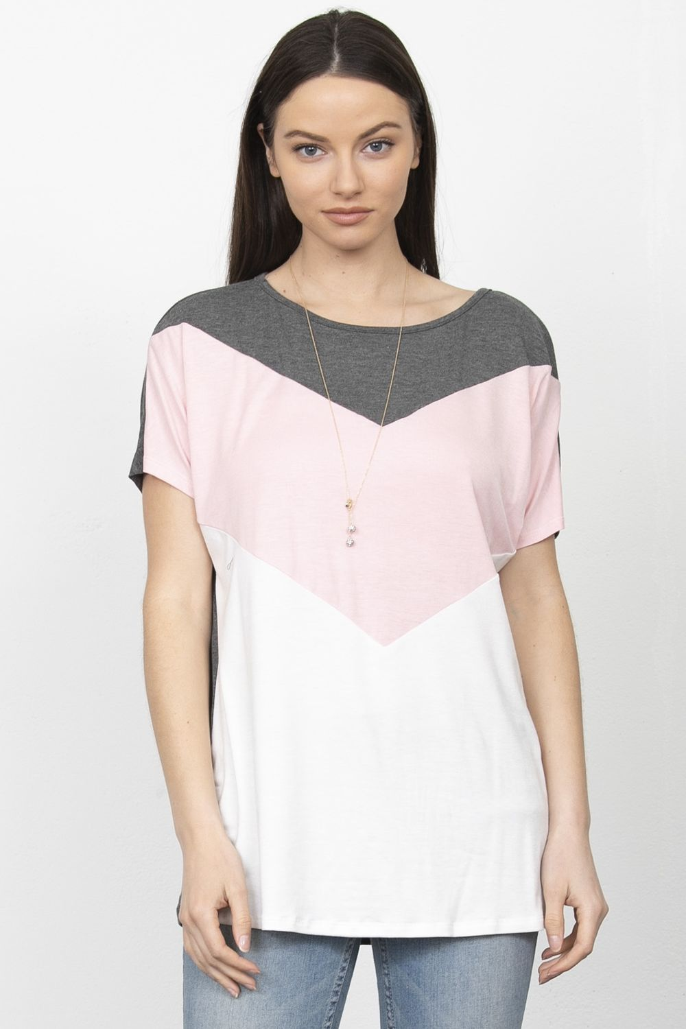 Short Sleeve Chevron Color Block Top_Plus