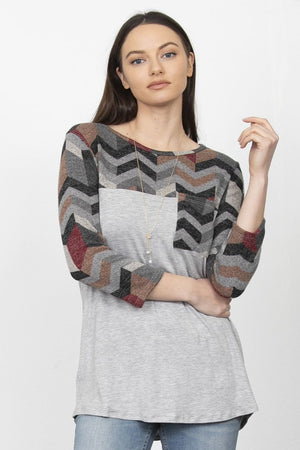 Grey Chevron Chest-Pocket 3/4 Sleeve Top