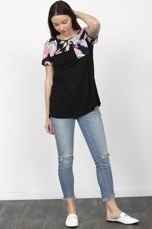 Black & Navy Paisley Chest-Pocket Short Sleeve Top