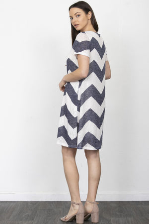 Navy Chevron Swing Mini Dress