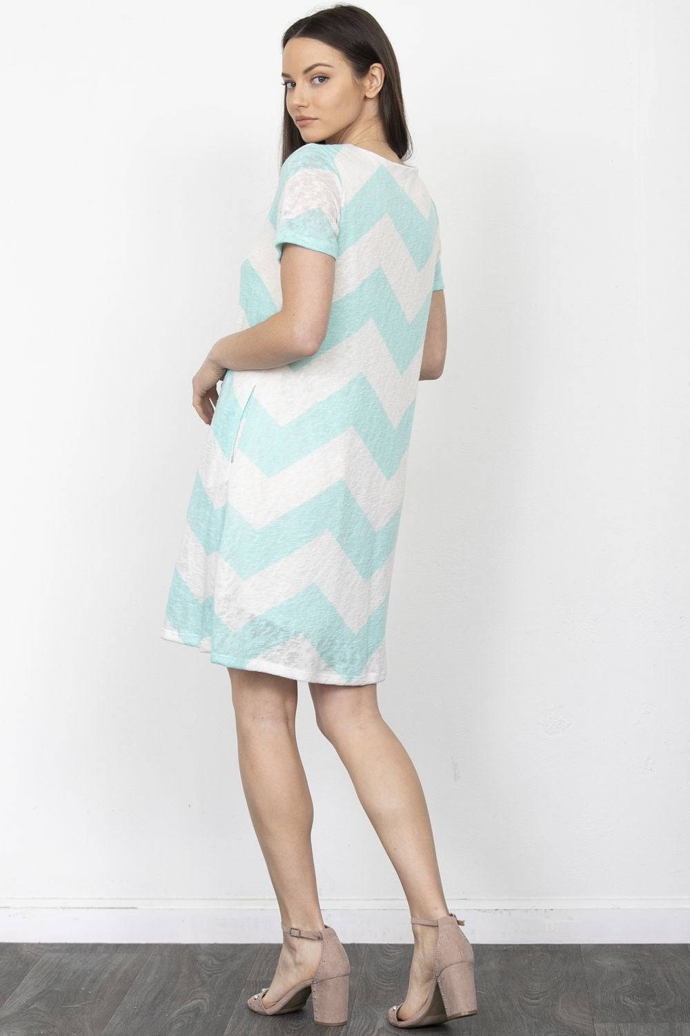 Mint Chevron Swing Mini Dress