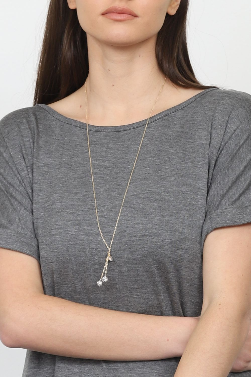 Double Ball Charm Necklace