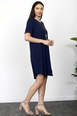 Navy Curved-Hem Mini Dress_Plus