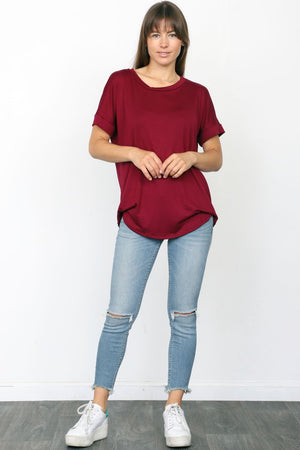 Solid Burgundy Round Neck Rolled Cuff Sleeve Top_Plus