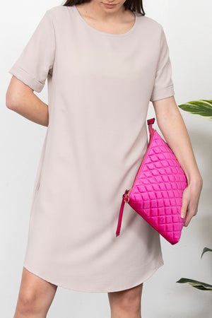 Hot Pink Quilted Velvet Clutch