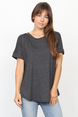 Solid Charcoal Round Neck Rolled Cuff Sleeve Top_Plus