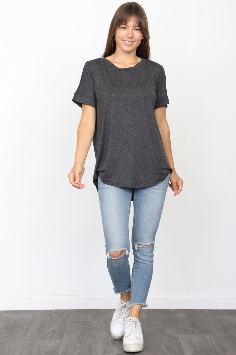 Solid Charcoal Round Neck Rolled Cuff Sleeve Top